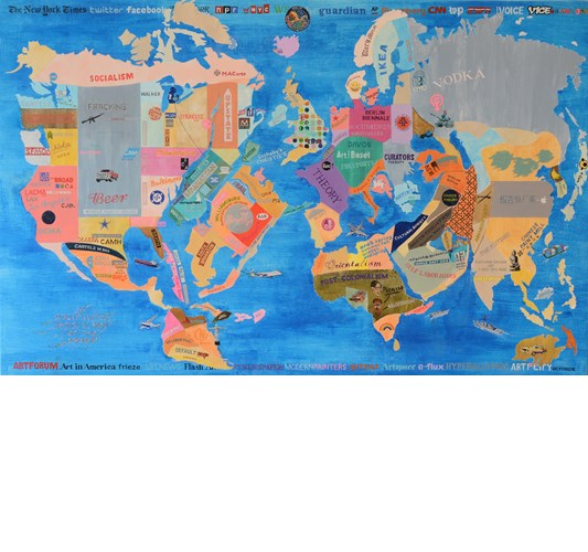 William Powhida - A Solipsistic Artist ' s Map of the World, 2015 - Acrylic and oil on canvas - 97 x 152 cm, 38.1 x 59.8 in