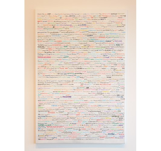 William Powhida - Some Twitter (August to January), 2015 - Acrylic on canvas - 152 x 102 cm, 59.8 x 40.2 in