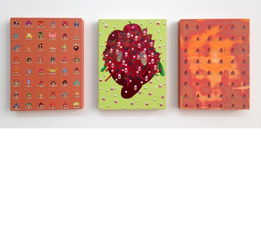 Mi Ju - Germs, 2015 - Acrylic on panel - 20 x 15 cm, 8 x 6 in each