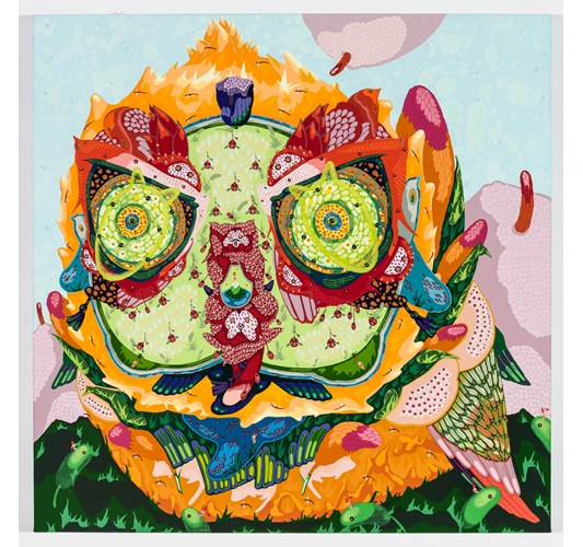 Mi Ju - Horned Melon, 2016 - Acrylic on linen & thread - 51 x 51 cm, 20 x 20 in