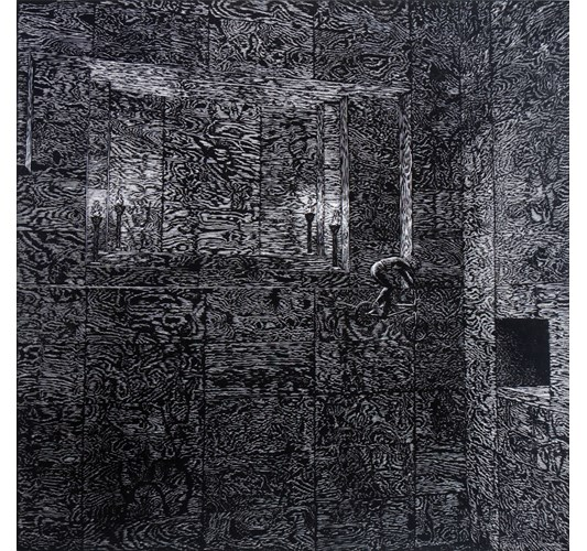 John Jacobsmeyer - Alligator Pit, 2014 - Woodcut, edition of 5 + 5 AP - 71 x 71 cm, 28 x 28 in
