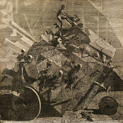 John Jacobsmeyer - Chariot, 2017 - Woodcut on gampi, edition of 15 + 5 AP - 142 x 142 cm, 56 x 56 in