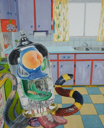 Alfred Steiner - Alien (Kodos), 2017 - Oil on linen - 81 x 102 cm, 32 x 40 in