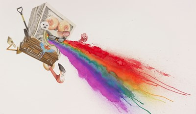 Alfred Steiner - Sponge Vomiting Rainbow, 2014 - Watercolor on arches 140 lb. hot press paper - 108 x 185 cm, 42.5 x 72.8 in