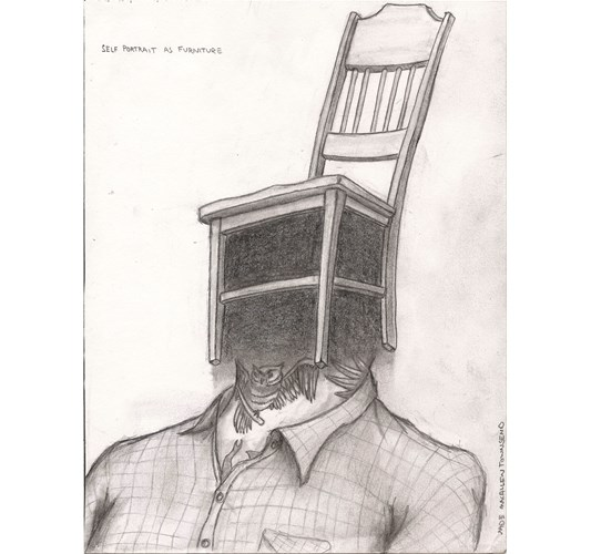 Jade Townsend - Self Portrait as Furniture, 2014 - Graphite on paper - 28 x 22 cm, 11 x 8.7 in