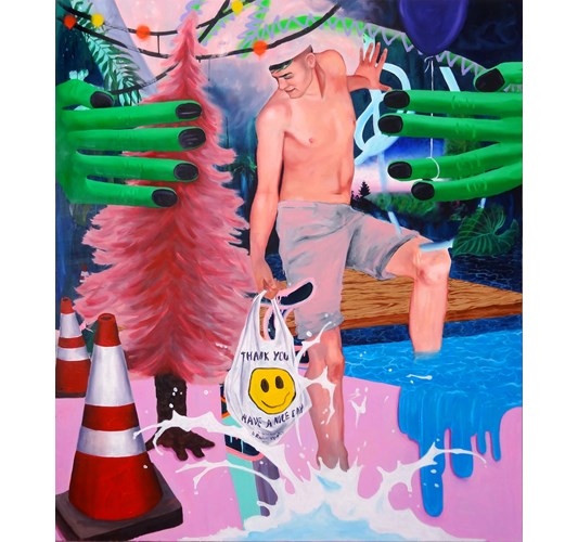 "Super Future Kid - ""Soft and sticky"" 2014,  oil, - acrylic and spray paint on canvas, - 150 x 130 cm, 59 x 51 in"