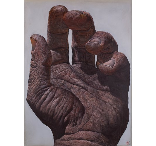 Ian Ingram - Mano I, 2019 - Oil on Arches paper - 76 x 56 cm, 30 x 22 in
