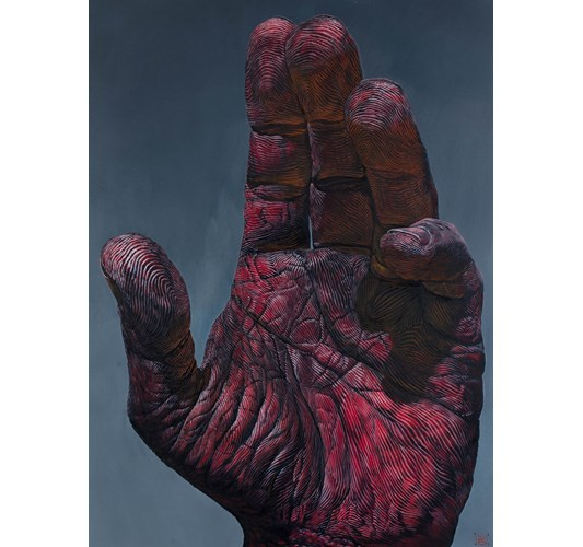 Ian Ingram - Mano II, 2019 - Oil on Arches paper - 76 x 56 cm, 30 x 22 in