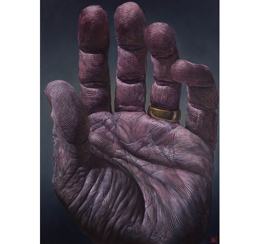 Ian Ingram - Mano III, 2019 - Oil on Arches paper - 76 x 56 cm, 30 x 22 in
