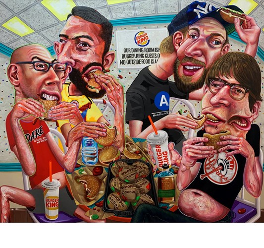 Tom Sanford - The Whopper Eating Contest 2019 - acrylic on canvas - 150 x 180 cm, 59 x 71 in