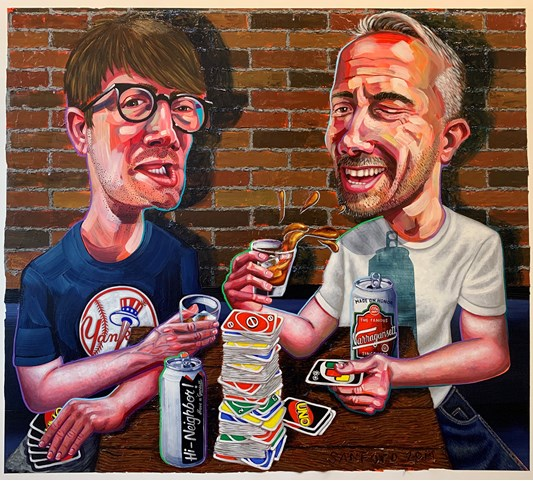 Tom Sanford - Uno with Bill, 2019 - acrylic on canvas - 117 x 132 cm, 46 x 52 in