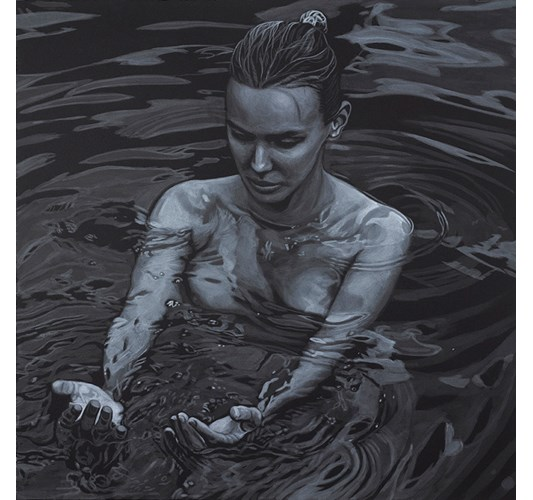 Works by - Hands in Water, 2017 - Acrylic on paper, 55 x 55 cm, 22 x 22 in - Artist Adam Stennet (US). Born 1972. Lives and works in Brooklyn, NY.