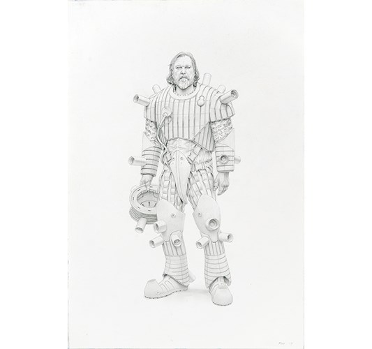 Jean-Pierre Roy - Self portrait in Low-Entropy Object Temporal Dislocation Suit, 2019 - graphite on paper - 56 x 38 cm, 22 x 15 in